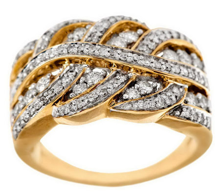 """As Is"" Braided Design Diamond Ring, 14K Gold 3/4 cttw, by Affinity"