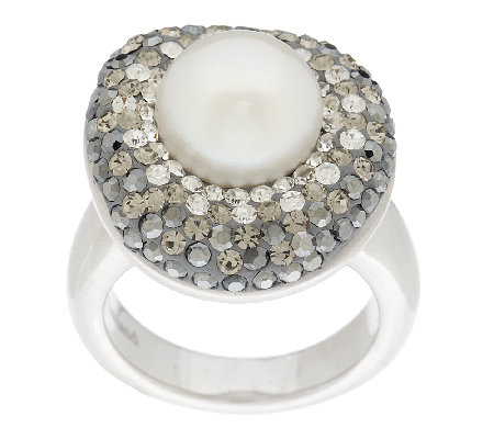 Honora Cultured Pearl 10.0mm and Crystal Sterling Ring