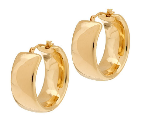 """As Is"" Oro Nuovo 1"" Polished Band Hoop Earrings, 14K"