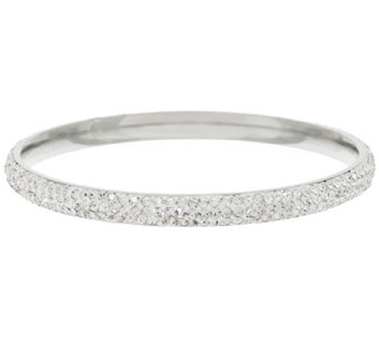 Stainless Steel Crystal Round Slip-on Bangle Bracelet - J291435