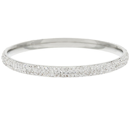 Stainless Steel Crystal Round Slip-on Bangle Bracelet