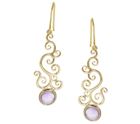 Adi Paz Gemstone Scroll Design Dangle Earrings 14K Gold