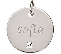 Posh Mommy Sterling Medium Disc w/Simulated Birthstone Pendan - J300035