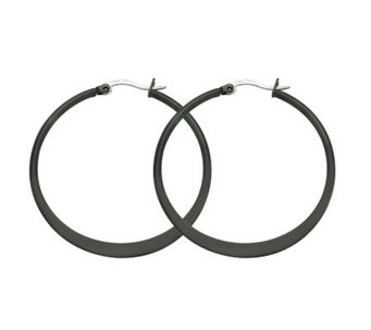 Stainless Steel Black-Plated Hoop Earrings - J302235