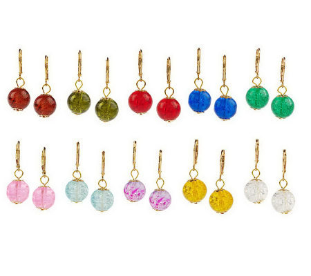Set of 10 Round Crackle Glass Bead Lever Back Earrings