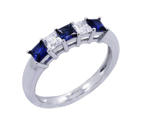Diamonique & Simulated Sapphire 5 Stone Ring, Platinum Clad