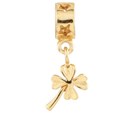 Prerogatives Gold-Plated Sterling 4-Leaf CloverDangle Bead