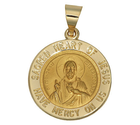 Sacred Heart of Jesus Pendant, 14K Yellow Gold