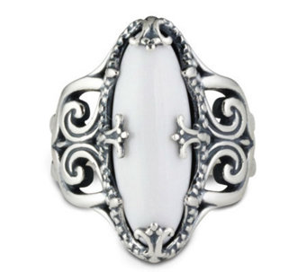 Carolyn Pollack Sterling Twilight White Agate Ring - J303935