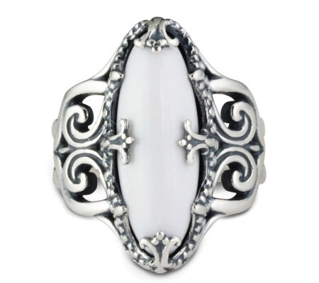 Carolyn Pollack Sterling Twilight White Agate Ring