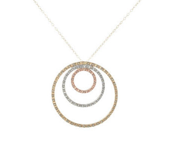Diamond Fascination Tri-Color Triple-Circle Pendant, 14K Gold - J304535