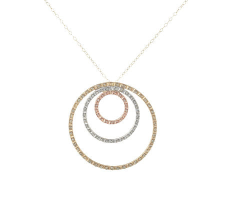 Diamond fascination tri color triple circle pendant 14k gold qvc diamond fascination tri color triple circle pendant 14k gold mozeypictures Image collections