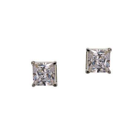 Diamonique 1.00 ct tw Princess Stud Earrings, 14K Gold