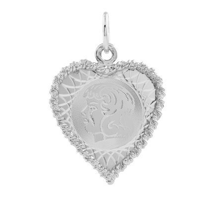 Sterling Rope Border Heart Shaped GirlPendant