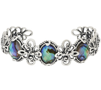 Carolyn Pollack Sterling Faceted Abalone Doublet Cuff - J317735