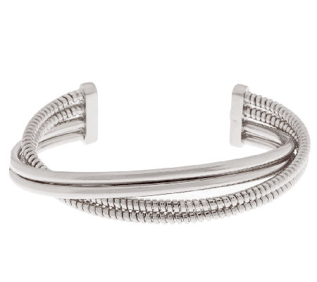 Italian Silver Sterling Bold Polished & Tubogas 4-Row Cuff, 15.0g