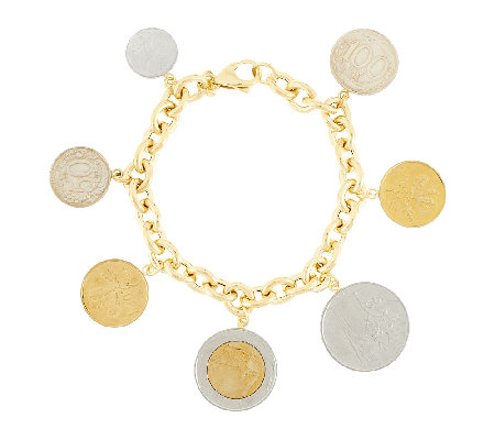 """As Is"" Veronese 18K Clad 8"" Lire Coin Charm Rolo Bracelet"