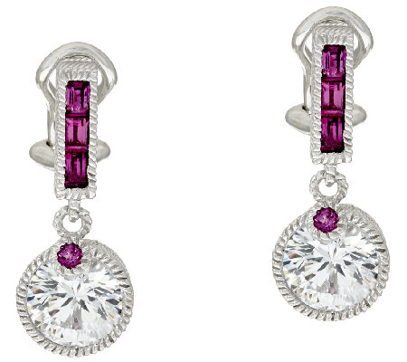 Judith Ripka Sterling Diamonique & Rhodolite Earrings