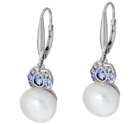Honora Cultured Pearl 10.0mm Tanzanite Sterling Earrings