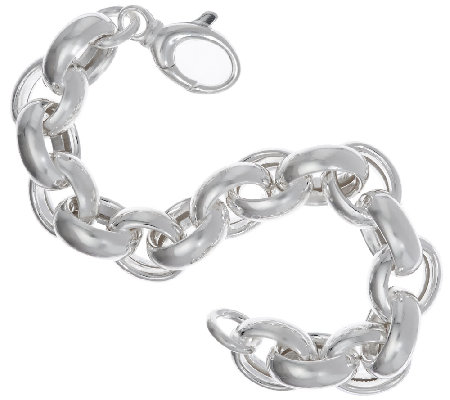 "Ultrafine Silver 7-1/4"" Polished Oval Rolo Link Bracelet, 33.5"