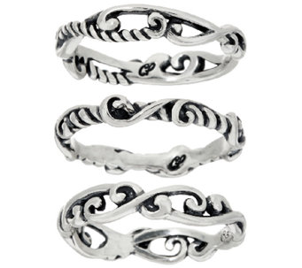 Carolyn Pollack Sterling Silver Set of 3 Signature Stack Rings - J320935