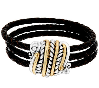 Sterling/Brass Magnetic Triple Row Leather Bracelet by American West - J321035
