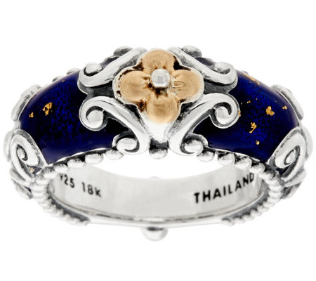 Barbara Bixby Sterling & 18K Blue Enamel Ring