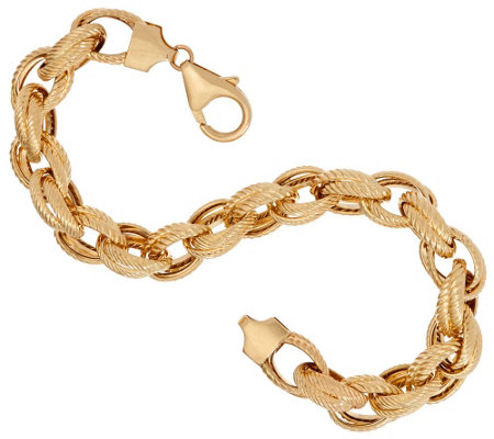 "Vicenza Gold 7-1/4"" Double Rope Link Bracelet 14K, 7.6g"