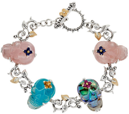 "Barbara Bixby Sterling & 18K Gemstone Skull 6-3/4"" Bracelet"