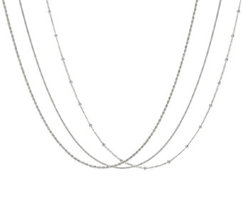 "Vicenza Silver Sterling 20"" Set of 3 Chains, 8.3g - J323935"