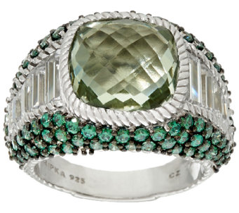 Judith Ripka Sterling Green Mint Quartz & Pave' Ring - J324035