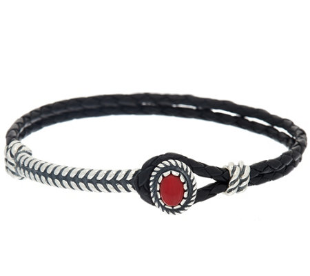 Gemstone Sterling Silver Braided Leather Bracelet by American West