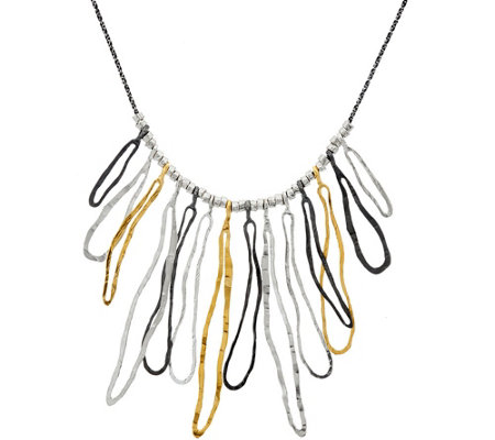 Or Paz Sterling Silver Textured Link Statement Necklace