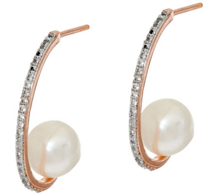 """As Is"" Honora Cultured Pearl 8.0mm & 0.20 ct tw White Topaz Bronze Earrings"