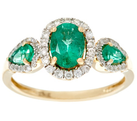 Oval & Pear Cut 3-Stone Design Zambian Emerald & Diamond Ring 14K, 0.90 cttw
