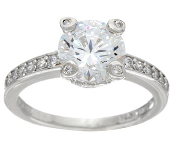 Diamonique 2.20 cttw Bridal Ring, Platinum Clad - J328635
