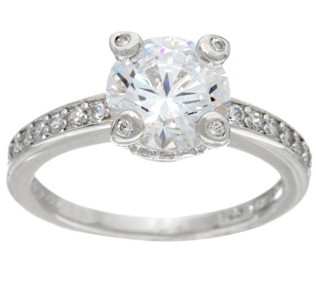 Diamonique 2.20 cttw Bridal Ring, Platinum Clad