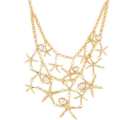 "C. Wonder 19"" Layered Rolo Link Chain Starfish Necklace"