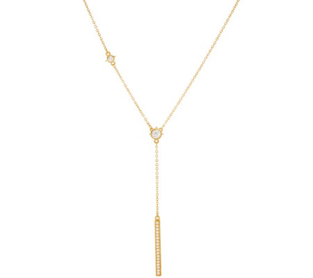 Judith Ripka Sterling & 14K Clad 8/10 cttw Diamonique Bar Necklace