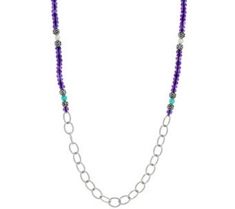 Luv Tia Sterling 89.00 cttw Multi-Gemstone Necklace - J330235