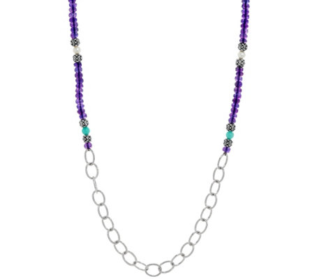 Luv Tia Sterling 89.00 cttw Multi-Gemstone Necklace