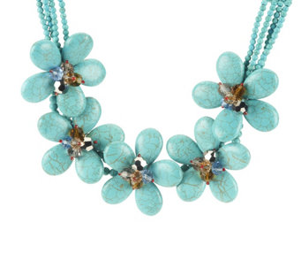 """As Is"" Joan Rivers Blooming Statement 16"" Bib Necklace - J330835"
