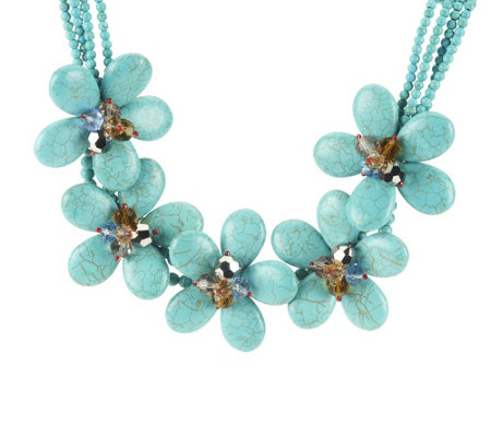 """As Is"" Joan Rivers Blooming Statement 16"" Bib Necklace"