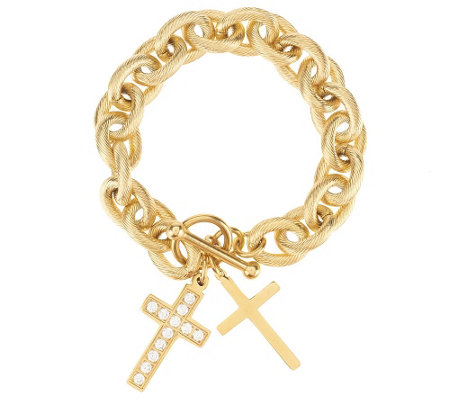 """As Is"" Stainless Steel Texture Rolo Bracelet with Cross Charms"
