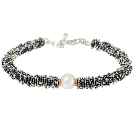 """As Is"" Michael Dawkins Sterl. Granulation & Cultured Pearl Toggle Bracelet"