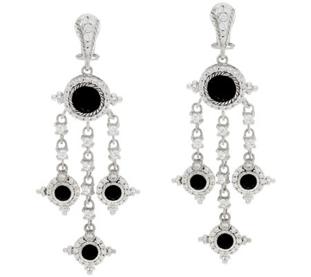 Judith Ripka Sterling Silver Faceted Black Spinel Earrings