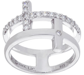 Hallmark Sterling Cubic Zirconia Double Cross Ring - J333435
