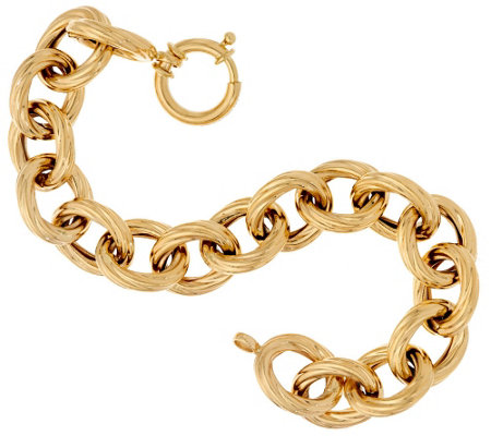 """As Is"" 14K Gold 7-1/4"" Bold Textured Rolo Link Bracelet, 15.2g"