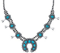 Kingman Spiderweb Turquoise Necklace by American West - J334335