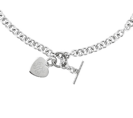 "Stainless Steel 18"" Engravable Heart Charm Rolo Link Necklace"